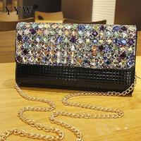YYW Hot Leather Envelope Clutch Bag New Evening Party Handbag Rhinestone Rectangle Solid Sac A Main Femme De Marque Luxe Cuir