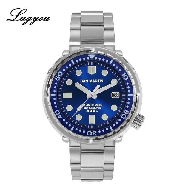 Lugyou San Martin ใหม่ Tuna SBBN015 อัตโนมัติชายนาฬิกาสแตนเลสสตีล 300 M Water Resistant Sun ray dial สร้อยข้อมือโลหะ