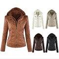 Осень Зима 2016 новый женщины куртка мода сплошного цвета балахон верхняя одежда кожаная куртка