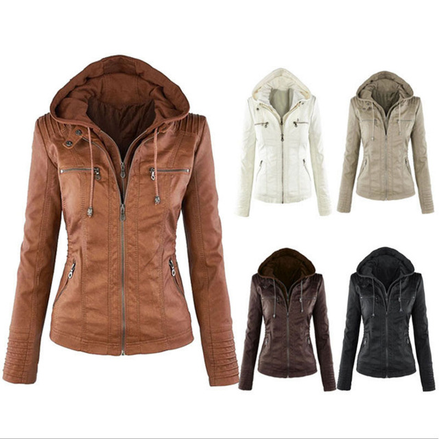 Autumn Winter 2016 new women jacket fashion solid color hoodie outwear leather jacket