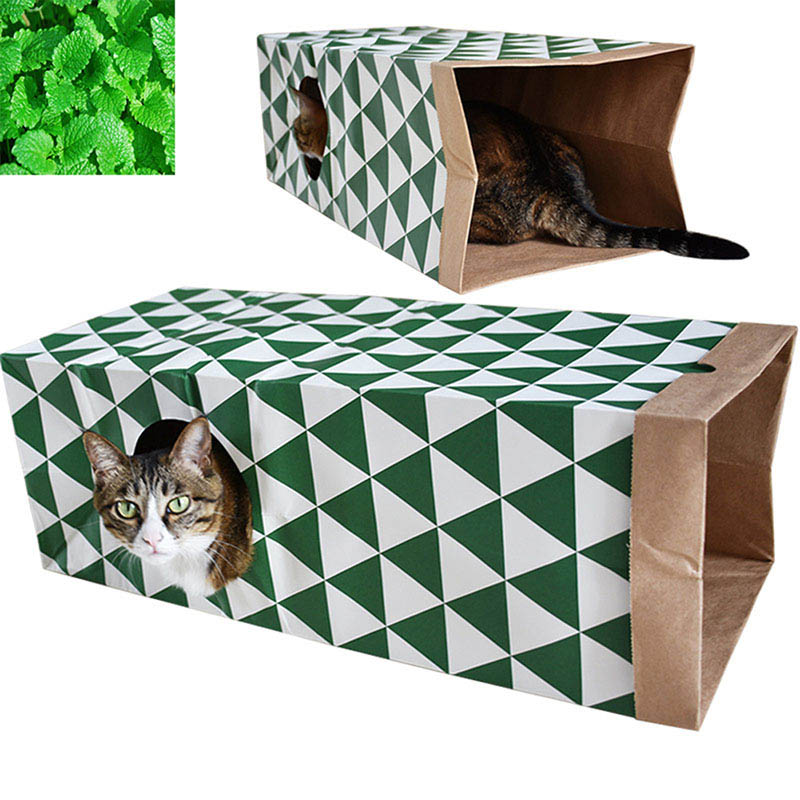 Pet Toys Cat Supplies Cat Mint Toy Cat Channel Tunnel Cat House Tunnel Folding Game Holes Playing Kraft Paper Gift