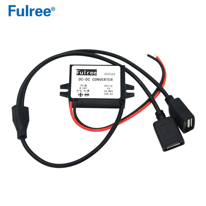 Mini Micro 2 USB <font><b>12V</b></font> 24V 36V 48V (8V-50V) <font><b>to</b></font> <font><b>5V</b></font> <font><b>3A</b></font> <font><b>DC</b></font>-<font><b>DC</b></font> Step Down <font><b>Power</b></font> <font><b>Converter</b></font> Double USB <font><b>Car</b></font> Charger Dual Output <font><b>Adapter</b></font> image