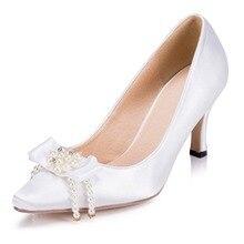 Tacones De Boda Women's Pearl Bowtie Wedding High Heels Wedding Shoes Party Dress Bridal Bridesmaid's Shoes Pumps 1513 JJ