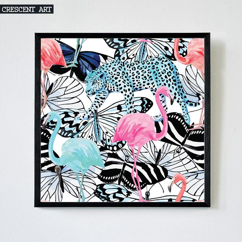 2017 Pop Art Wanddekoration Wildlife Poster Flamingo Bild Tropical Print Leinwand Leopard Kunst Schmetterling Wohnzimmer Wohnkul