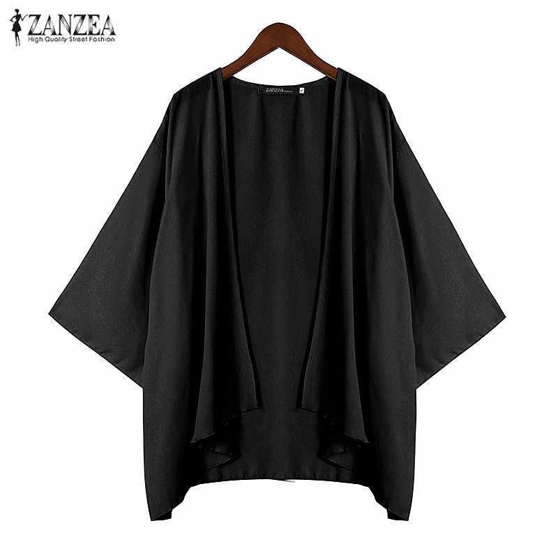 ZANZEA пляжное кимоно топы кардиганы 2016 модные женские шифоновые блузки накидка шаль пляжная свободная Blusas Плюс Размер Крышка