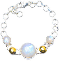 Natural Two Tones Rainbow Moonstone Handmade Unique 925 Sterling Silver Bracelet 6 7 3 4 Y0057