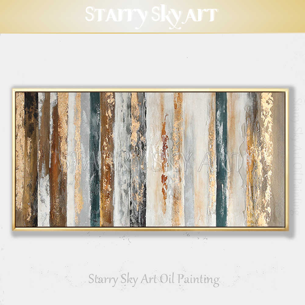 New Arrivals Hand-painted Contemporary Wall Art Golden Abstract Oil Painting on Canvas Interior Design Art Golden Oil Painting