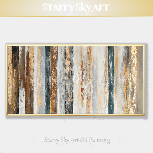 New Arrivals Hand painted Contemporary Wall Art Golden Abstract Oil Painting on Canvas Interior Design Art Golden Oil Painting