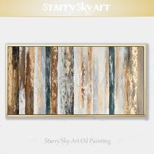 Nowości ręcznie malowane współczesna sztuka ścienna złoty abstrakcyjny obraz olejny na płótnie projektowanie wnętrz sztuka złoty obraz olejny