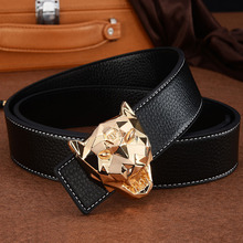 Gifts for Men High Grade Men Leather Belt Smooth Buckle Luxury Brand Business Co