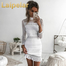 2018 New Fashion Women Summer Long Sleeve White Lace Evening Party Vestidos Short Mini Dress