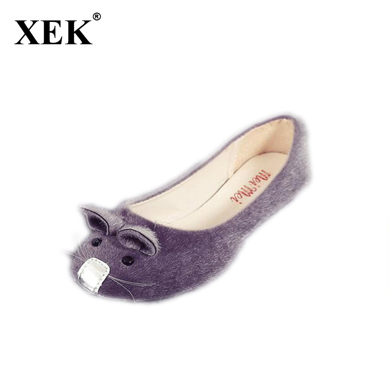Hot Selling Girls Cute Mouse Design Spring and Autumn Flats Women Single Shoes Fashion Flat Heel Shoes Women's Flats 2017 spring and autumn hot selling women s comfortable diabetic shoes foot swollen foot care shoe breathable flat bunion shoes