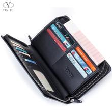 YINTE Men's Clutch Wallet Leather Men Business Wallet Handbag Organizer Wallet Phone Cash Holder Men Wrist Bag Portfolio T8053-4