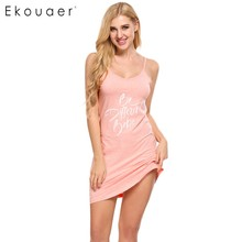 Ekouaer Women Letter Print Nightgown Sleep Lounge Dress Sleepwear Sexy V-Neck Dress Slim Home Clothes Nightwear S/M/L/XL/XXL