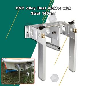 Image 1 - CNC Alloy Dual Rudder with Strut 140mm For 1/4 6.35mm Shaft RC Boat Gas O Boat