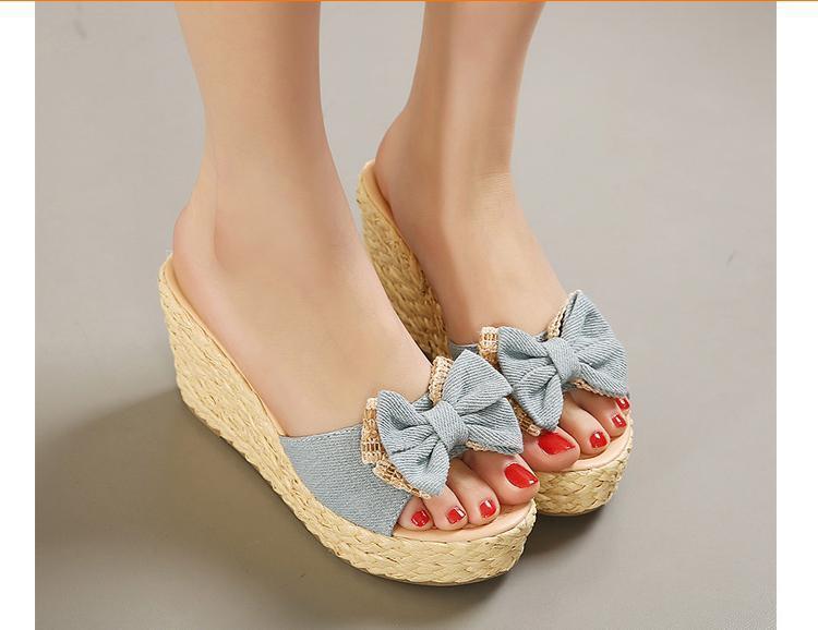 a7f7727a703 Vintage Cheap Woven Wedge Summer Sandals Cheap Cute Bowtie Platform Shoes  Sandals Flip Flop Cheap Platform Wedge Sandal Flipflop-in Women s Sandals  from ...