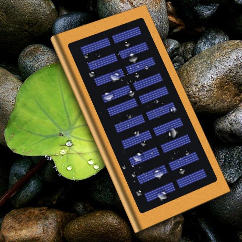 Venta caliente 20000 mAh Ultra-delgada de batería externo del Banco de la energía Solar paquete Dual USB cargador para el IPhone IPad tablet para Xiaomi