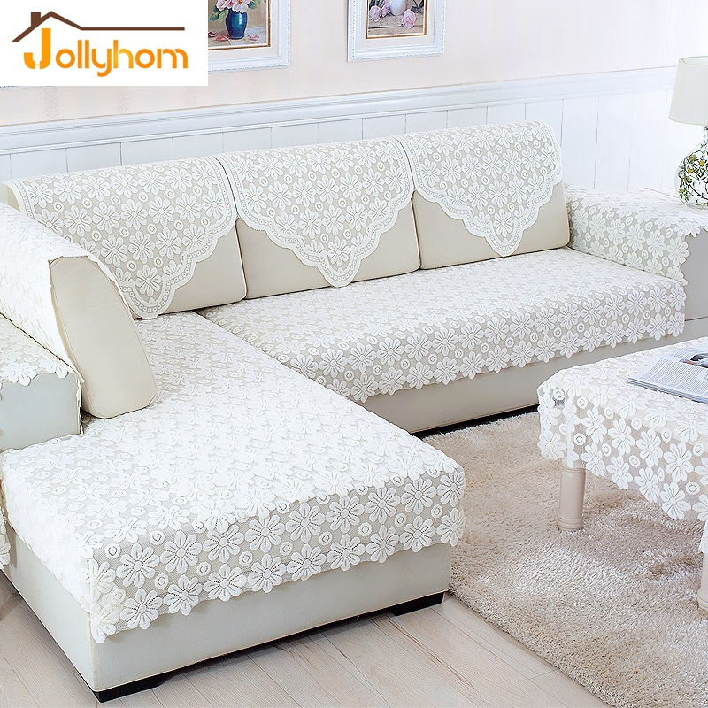 Fashion white lace combination sofa towel cozy l shaped for L shaped sofa colors