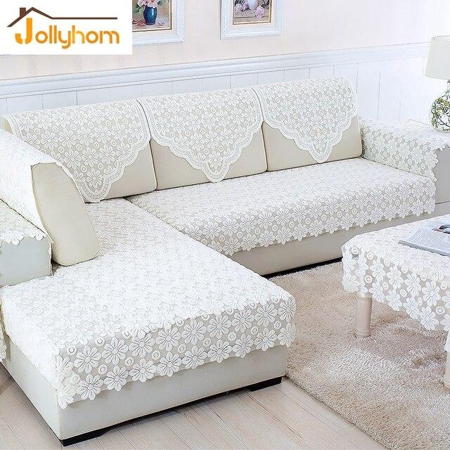 Bon Fashion White Lace Combination Sofa Towel Cozy L Shaped Sofa Cover  Thickening Non Slip