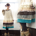 Autumn Winter Women Japanese Cotton Linen Lace Cascading Ruffles Dresses Mori Girl Cute Beading Muti Layered Lolita Dress T208