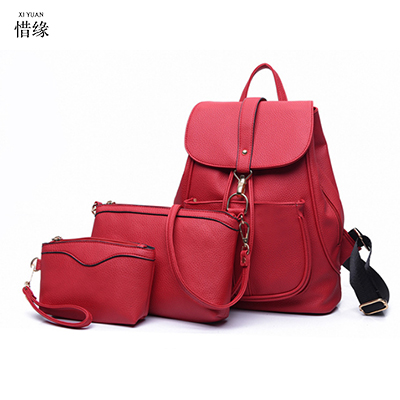 3pcs Fashion Women Waterproof PU Leather Backpack Women's Backpacks for Teenage Girls Ladies Bags with Zippers Black Bags red new fashion tassel women genuine leather backpack women s backpacks girls ladies bags with zippers school bags sli 256