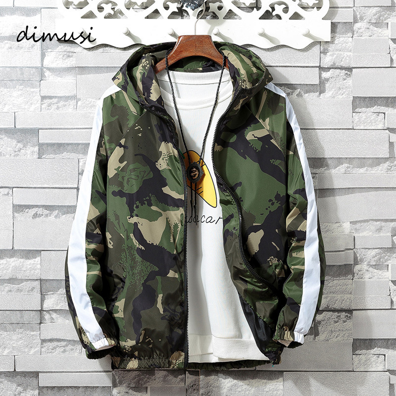 DIMUSI Mens Jackets Spring Men Casual Windbreaker Camouflage Hooded Coats Bomber Jackets Mens Fashion Hip Hop Coats Clothing 4XL