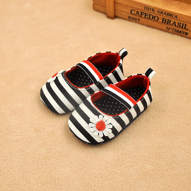 Newborn Baby Girls Flower Cotton Shoes Soft Soled Striped Crib Shoes Age 0-18M