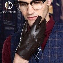 warm winter mens gloves ,Genuine Leather,Black leather