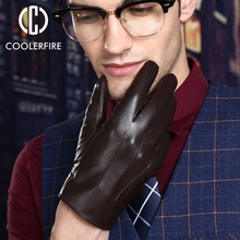 warm winter mens gloves ,Genuine Leather,Black leather gloves,male gloves,winter men, Free shipping ST008