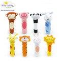 Brinquedo do bebê quebra-cabeça de bitty itty macio mão de Animal 8 estilos de sino chocalho Squeaker vara chocalho do bebê bonito 1 pc