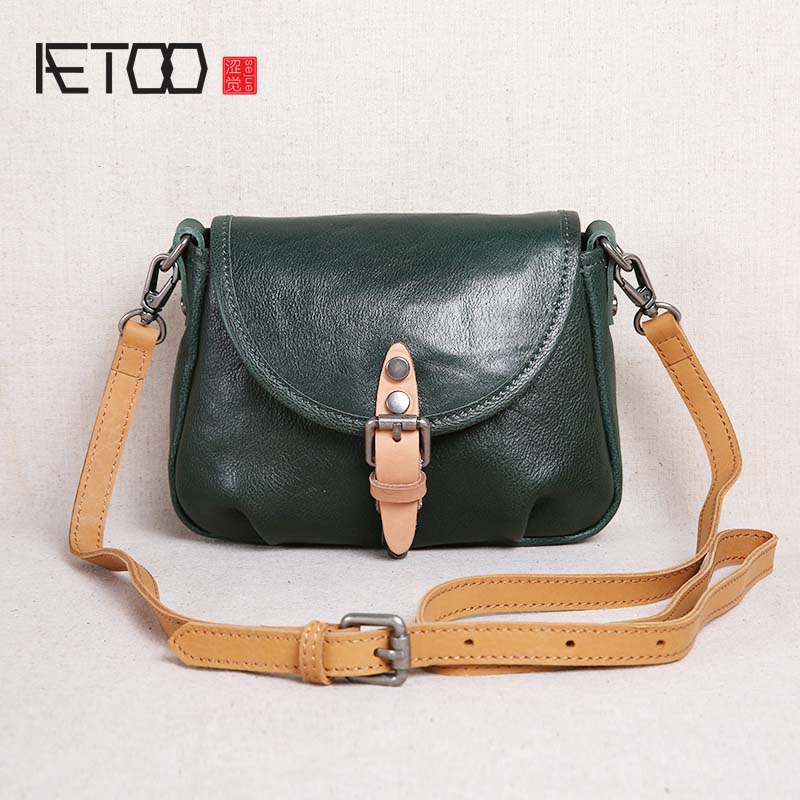 AETOO 2018 new handbags leather mini bag women summer first layer leather shoulder bag Messenger bag simple samll bag qiaobao 2018 new korean version of the first layer of women s leather packet messenger bag female shoulder diagonal cross bag