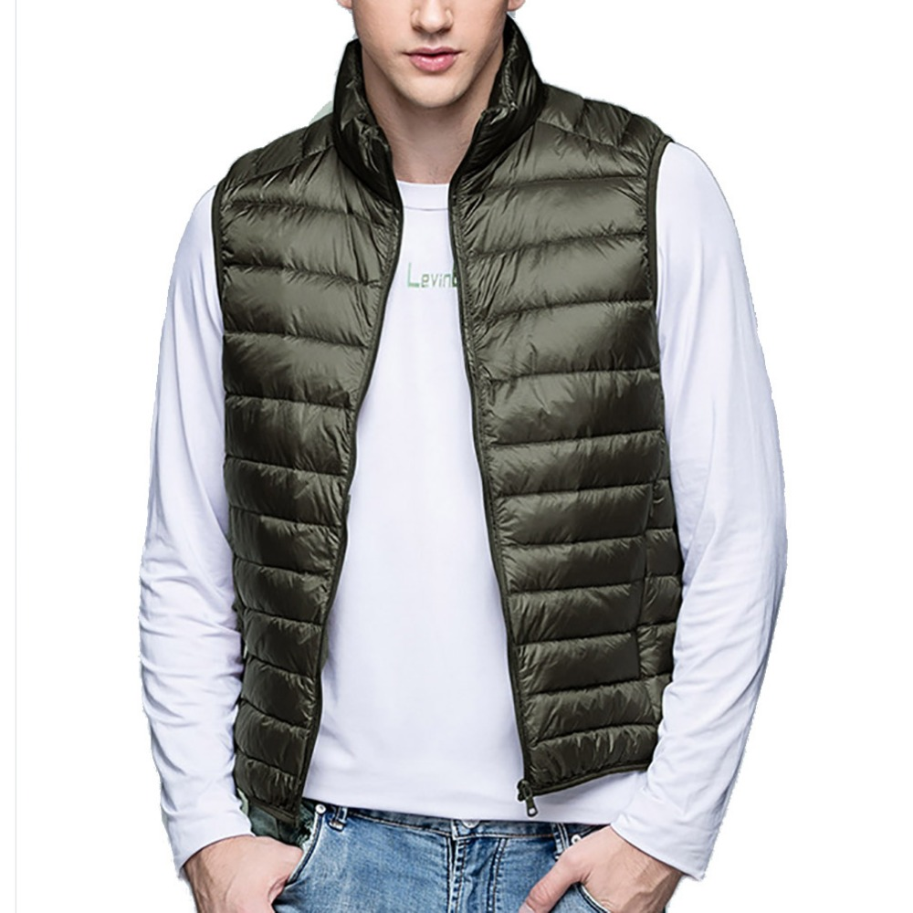 2019 Nyt Vintervest Herre Veste 90% Duck Down Jakke Ultra-Light Herres Vest Outwear Windproof Warm Down Coat Waistcoat Mand