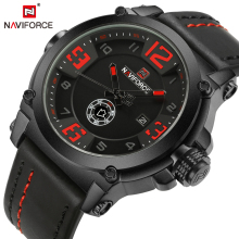 NAVIFORCE Men Sports Watches Luxury Military Quartz Watch Leather Strap Mens Waterproof Wristwatch Male Clock Relogio Masculino