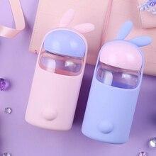 Water Bottle 340 ml Cute Rabbit Cup  School Outdoor Travel Portable Cartoon Milk Coffee Glass