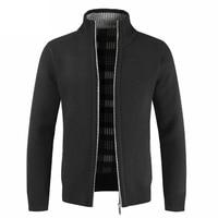 M 3XL Autumn Winter Zipper Knitted Sweater Man Long Sleeve Stand Collar Jacket Sweater Male 2018 Cardigan Plus Size Coat Outwear