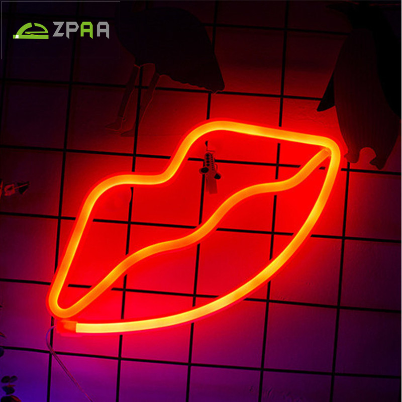 ZPAA Red Lips Cat Christmas Tree Neon Night Light Lamp Strip USB Operated Wall Hanging Light Cartoon LED Home Bedroom Decor цена 2017