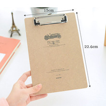 Free Shipping 4pcs/lot A5 MDF Clipboard with Hook Retro Writing pad Creative file/menu clipboard with plate clip office supplies