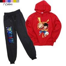 Dla dzieci chłopcy dziewczęta jeden kawałek Monkey D. Luffy bluzy z kapturem spodnie garnitur ubrania dla dzieci bluzy z kapturem na co dzień modna sweter Harem spodnie