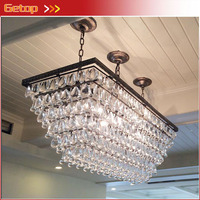 ZX Hot Sale High Quality Waterdrop Crystal Chain LED Chandelier American Retro Rectangle E14 Bulbs Restaurant Sitting Room Lamp