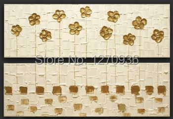 Pretty beautiful pale yellow flowers decorative painting pure hand painted knife oil painting On Canvas golden wall picture art