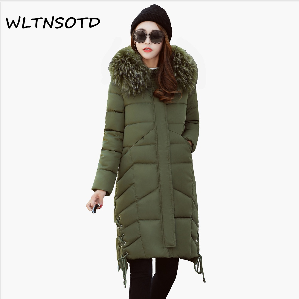 2017 Top Fashion Full New Winter Cotton Coat Women Long Slim Hooded Large Fur Collar Jacket Female Fashion Hem Warm Parkas new arrival fashion korean winter hooded cotton adjustable hem double breasted puff sleeve fur collar women jacket coat h4283