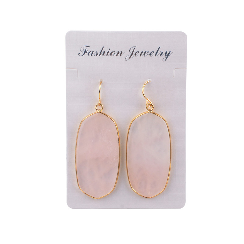 SEVENSTONE 2019 New Reiki Quartz Dangle Fashion Crystal Earrings Natural Stone Black Onyx Boho Earring Gifts for Women Jewelry