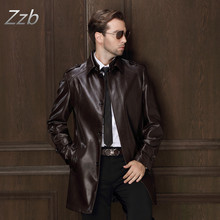 HOT 2017 Men s Leather Jacket Men Clothing Medium Long Trench Casual Sheepskin Leather Trench Coat