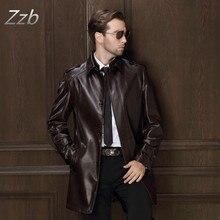 HOT 2017 Men's  Leather Jacket Men Clothing Medium-Long Trench Casual Sheepskin Leather Trench Coat   M-4XL Gabardina de cuero