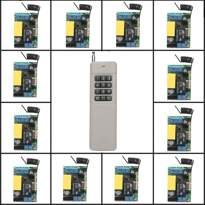 220V relay 10A 315MHZ/433MHZ RF Wireless remote control system 200-3000M 1 (controller)transmitter +12 Mini receiver(switch) rf 2 channel 315mhz 433mhz 85v 250v wireless remote control relay switch 2 radio transmitter and 1 receiver controller system