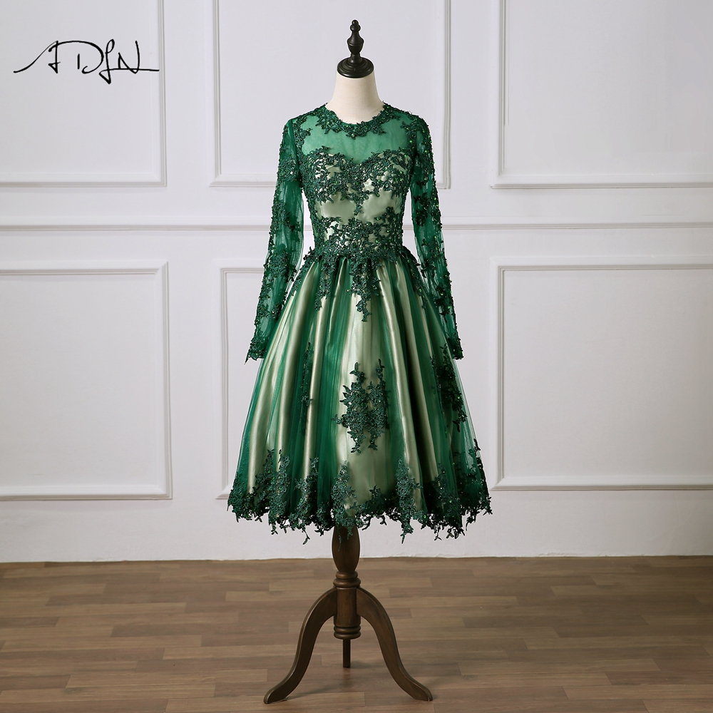 ADLN A-line   Cocktail     Dress   Green Appliques Long Sleeves Knee-length   Cocktail     Dress   Formal Party   Dress   Homecoming Gown
