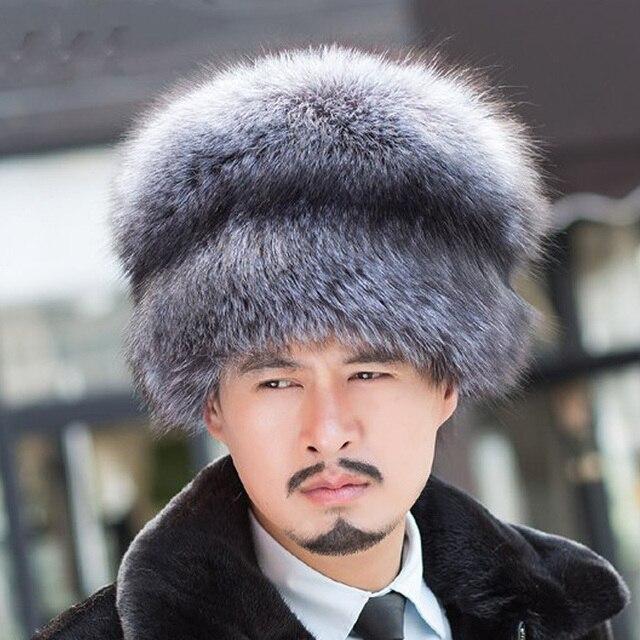 Russo reale argento naturale della pelliccia di volpe cappuccio uomo con  signora volpe coda di sesso a4e0b22e0ae4