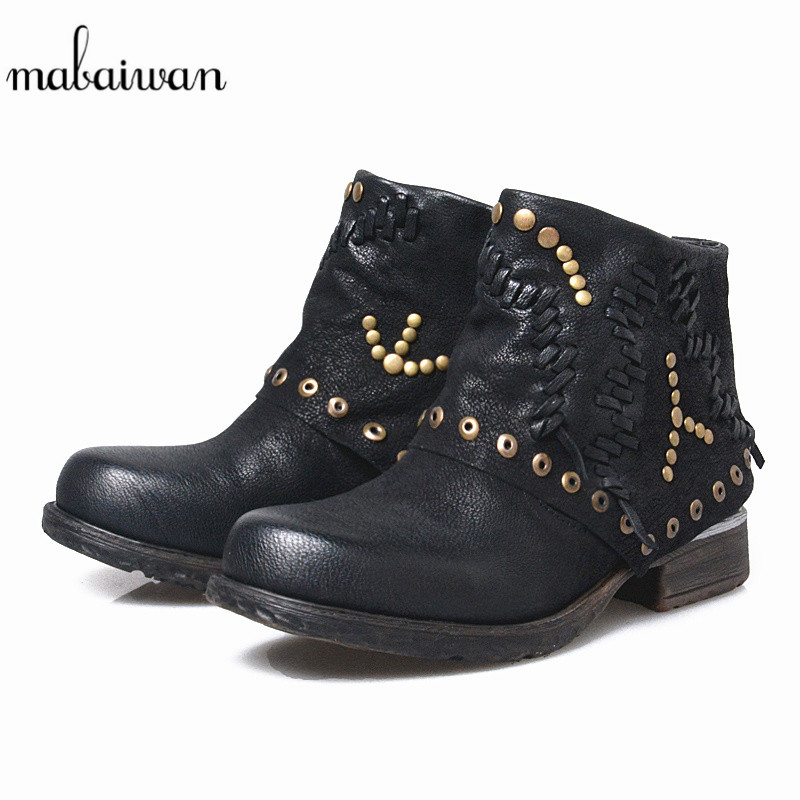 Mabaiwan Black Genuine Leather Women Shoes Snow Ankle Boots For Women Motorcycle Military Boots Tassel Decor Shoes Rivets Flats mabaiwan handmade rivets military cowboy boots mid calf genuine leather women motorcycle boots vintage buckle straps shoes woman