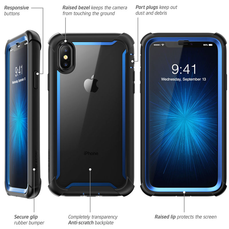 Image 4 - For iphone X Xs Case 5.8 inch Original i Blason Ares Series Full Body Rugged Clear Bumper Case with Built in Screen ProtectorFitted Cases   -
