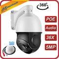 Мини PTZ IP камера POE 5MP Открытый водонепроницаемый высокая скорость 36X зум купольная камера IR 80 м P2P CCTV безопасности Аудио микрофон IP камера Onvif